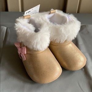Child of Mine Shiny Boots with Fur Size 3-6 Months